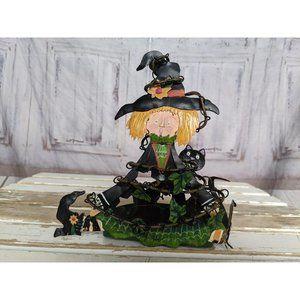 Vintage Kathy Hatch Witch Tea Light Holder Hallowe